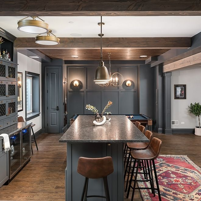 Grey Basement Ideas: Leather Barstools Bar With Leather Barstools Leather