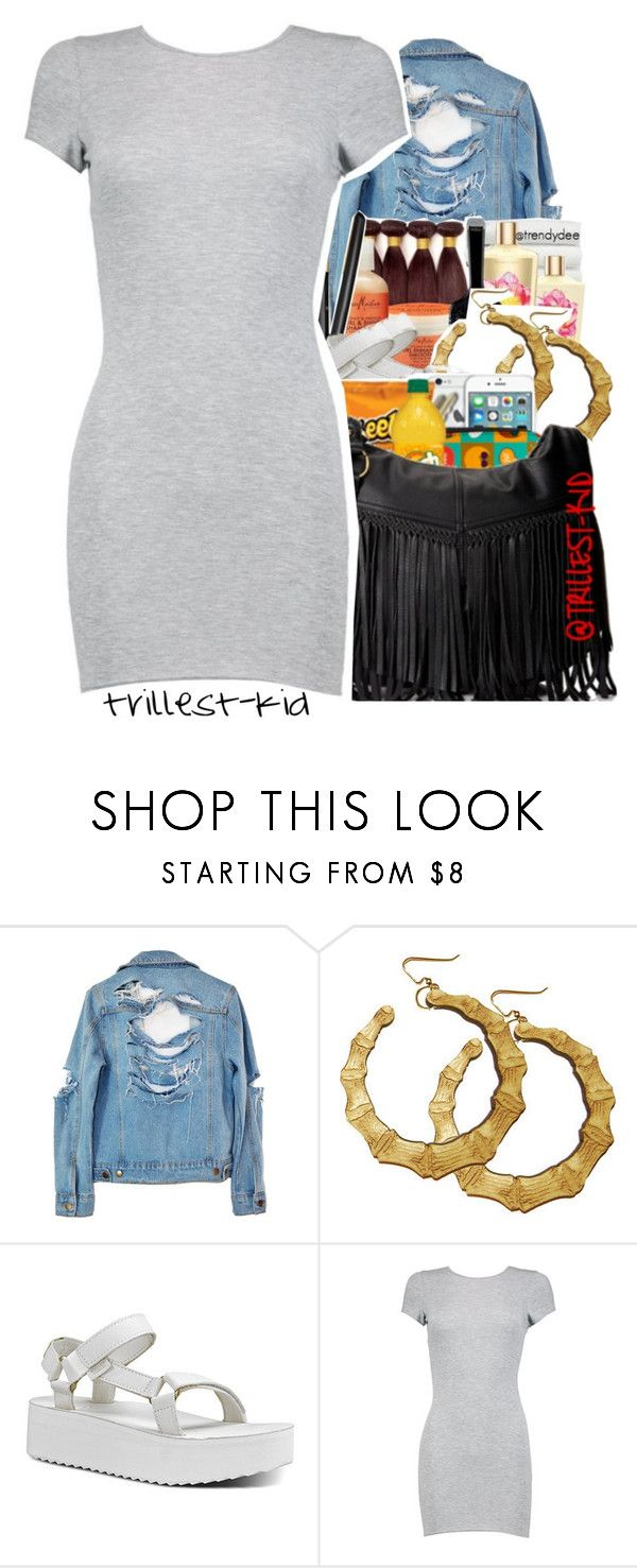"""""""Jean Jacket"""" by trillest-kid ❤ liked on Polyvore featuring High Heels Suicide, Teva, Premade and WP"""