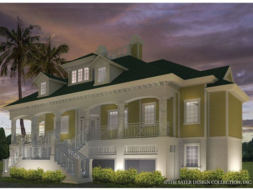 Low country style 2 story 3 bedrooms s house plan with for One story low country house plans