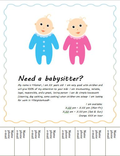 Baby-sitter-flyer-with-cute-kids Babysitting Pinterest - babysitting resume template