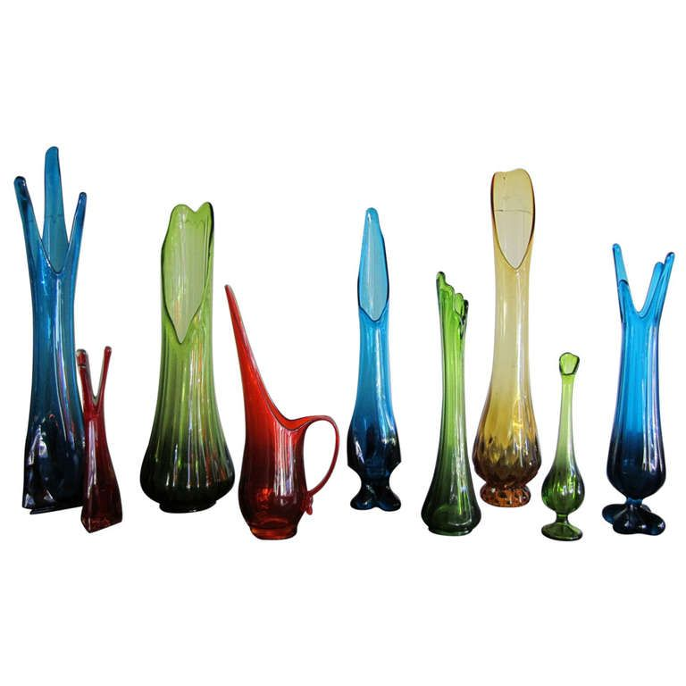 Fabulous Collection Of 9 Colorful Viking Glass Vases Mid Century