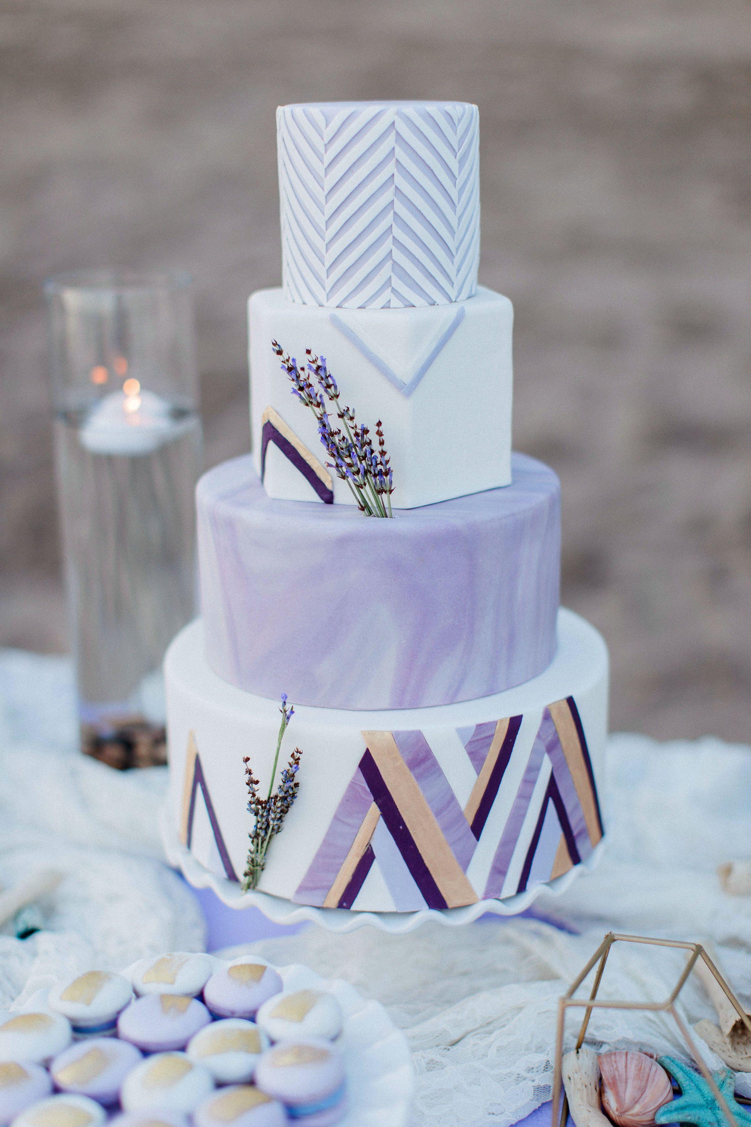 Boho styled lavender wedding cake baking up treble cakes