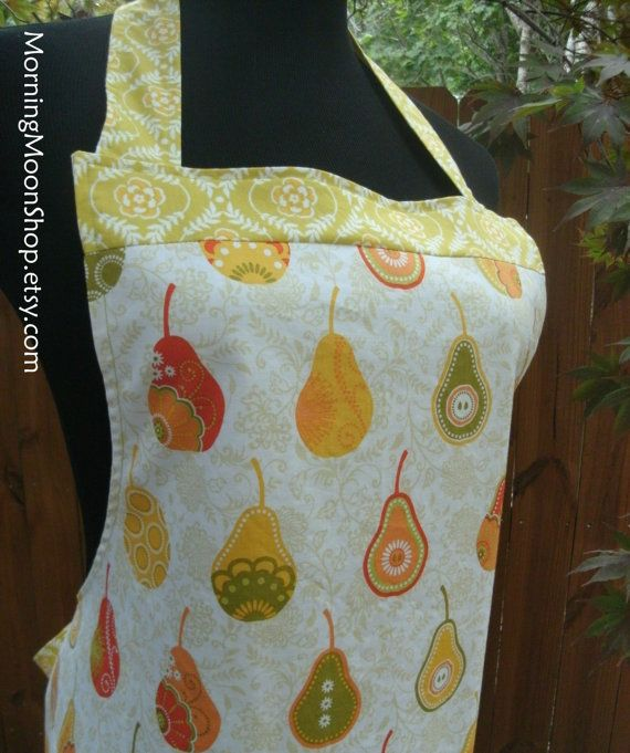 REVERSIBLE APRON PEARS Fruit Print Bright Green by MorningMoonShop
