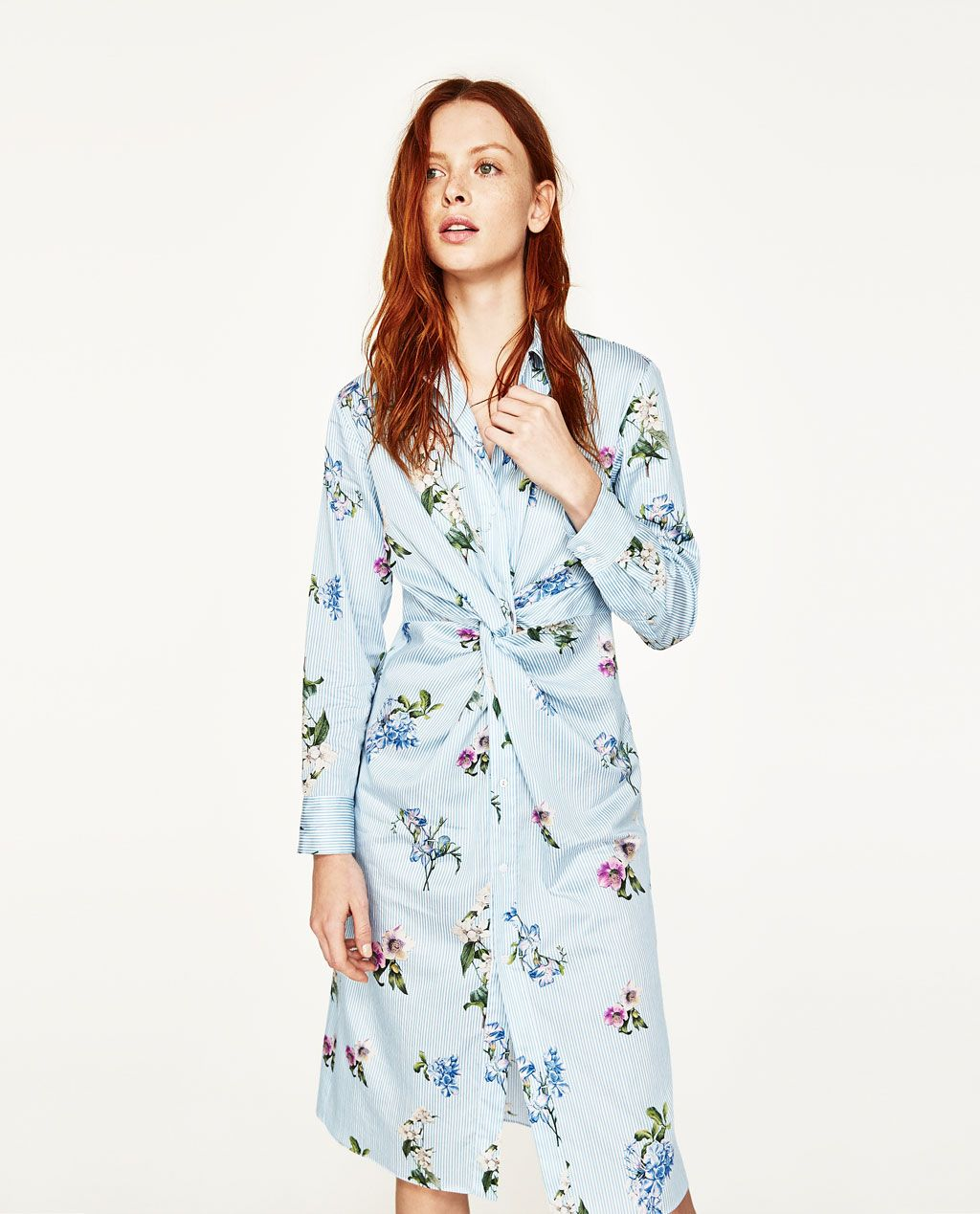 9b916144 Image 2 of PRINTED TUNIC WITH KNOT from Zara | Lovely | Dress shirts ...