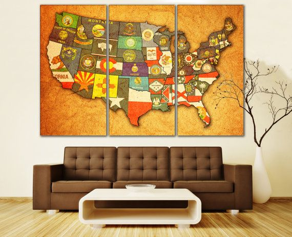 United States Wall Art usa map, vintage map, map of usa, states flag, united states map