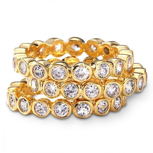 CZ Cubic Zirconia Stack Ring Set - Gold over Sterling Silver
