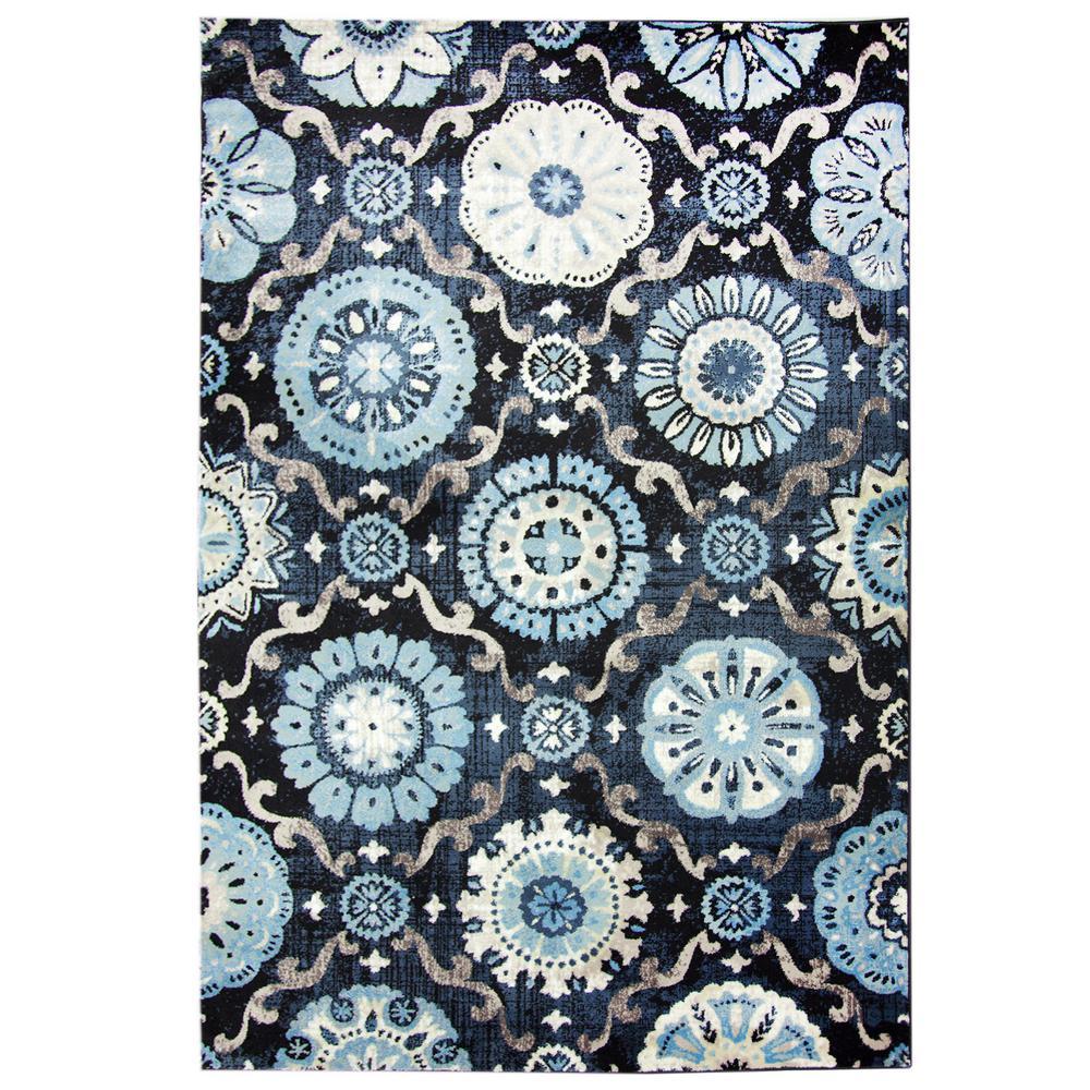 Carpet Art Deco Bazaar Medallion Navy 8 Ft X 10 Ft Area Rug