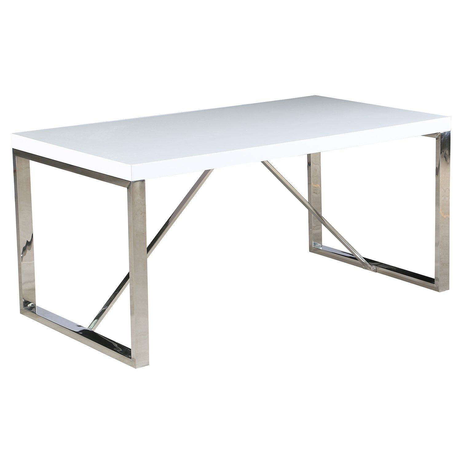 2xhome Modern Mid Century White Glossy Paint Wood Top Silver Chrome Steel  Leg Base Rectangle Dining Table Home Office Restaurant, Multi