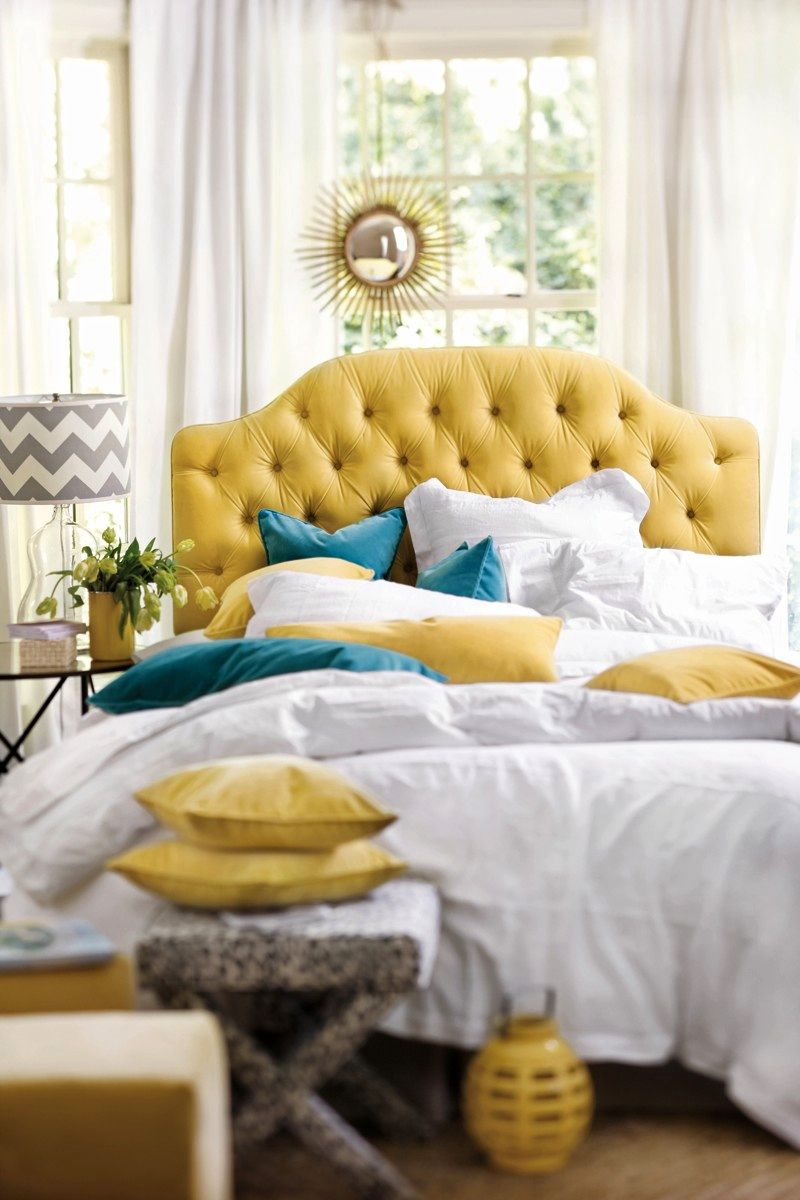 promo code 17557 c6d77 Yellow tufted headboard with blue velvet pillows and white ...