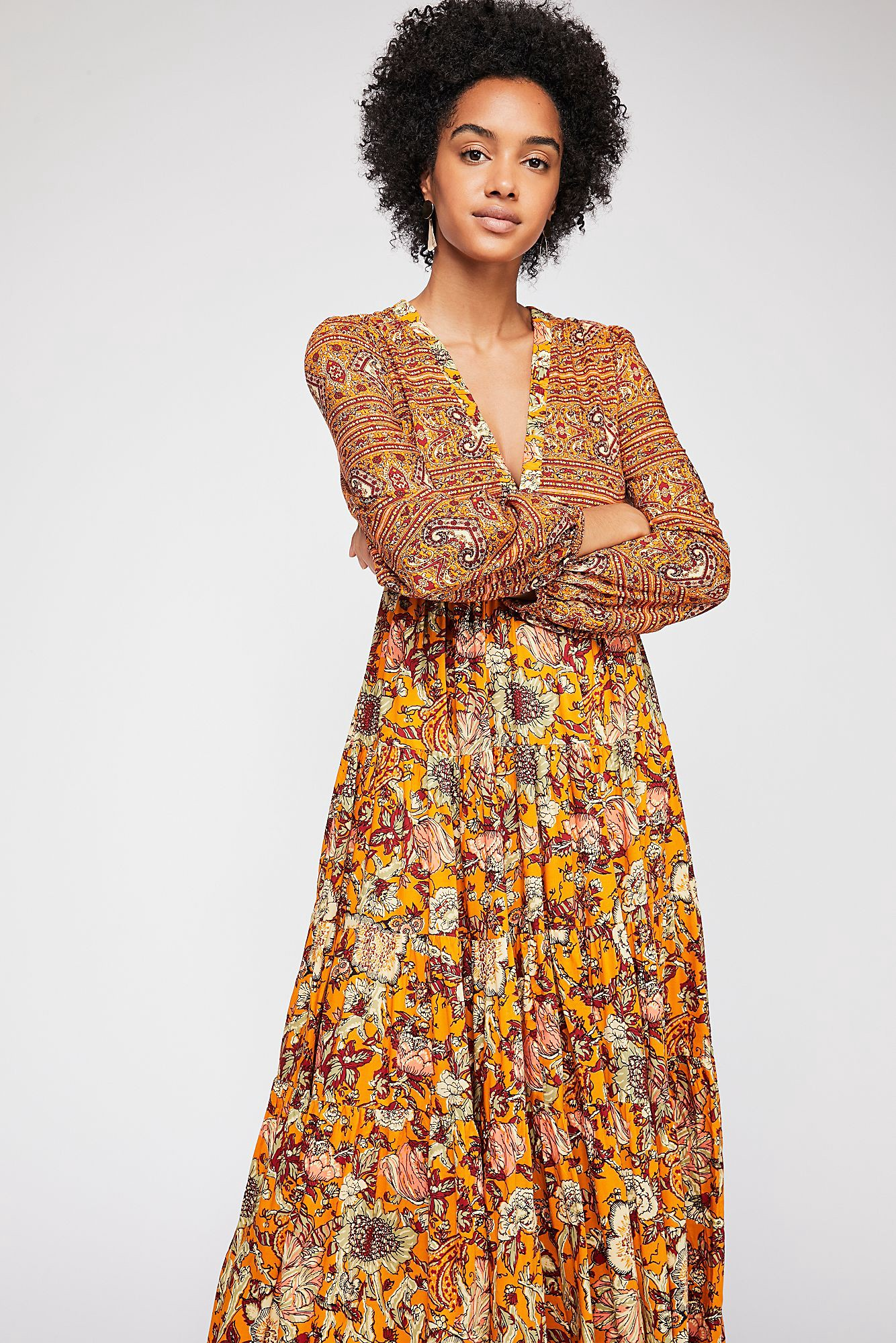 3fee781b964f Free People Dove Long Sleeve Maxi Dress - Marigold Combo Xs ...