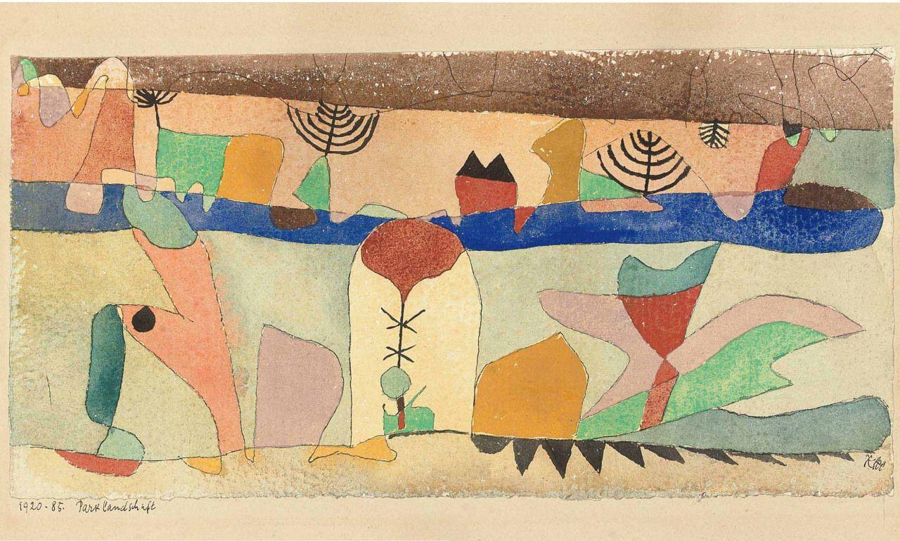 lawrenceleemagnuson:  Paul Klee (1879-1940)Parklandschaft (1920)watercolour and pen and ink on paper laid down on the artist's mountsheet: 15 x 29.8 cm