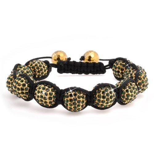 Bling Jewelry Unisex Bracelet Shamballa Inspired Green Crystal Gold Beads 12mm