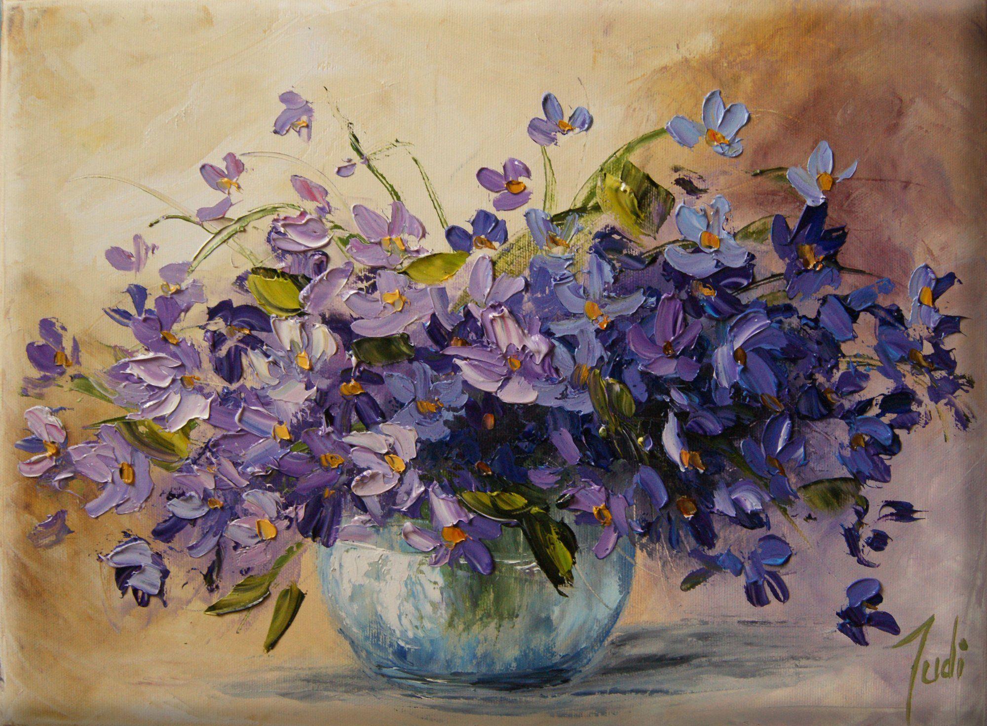 Judiart Obraz Olejny Bukiet Kwiaty Fiolki 6334898484 Oficjalne Archiwum Allegro Flower Painting Flower Drawing Texture Painting