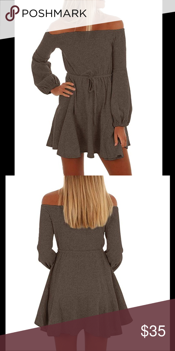6cf7d3e4ca6f Coffee Off the Shoulder Mini Sweater Dress Coffee colored off the shoulder  mini sweater dress Made
