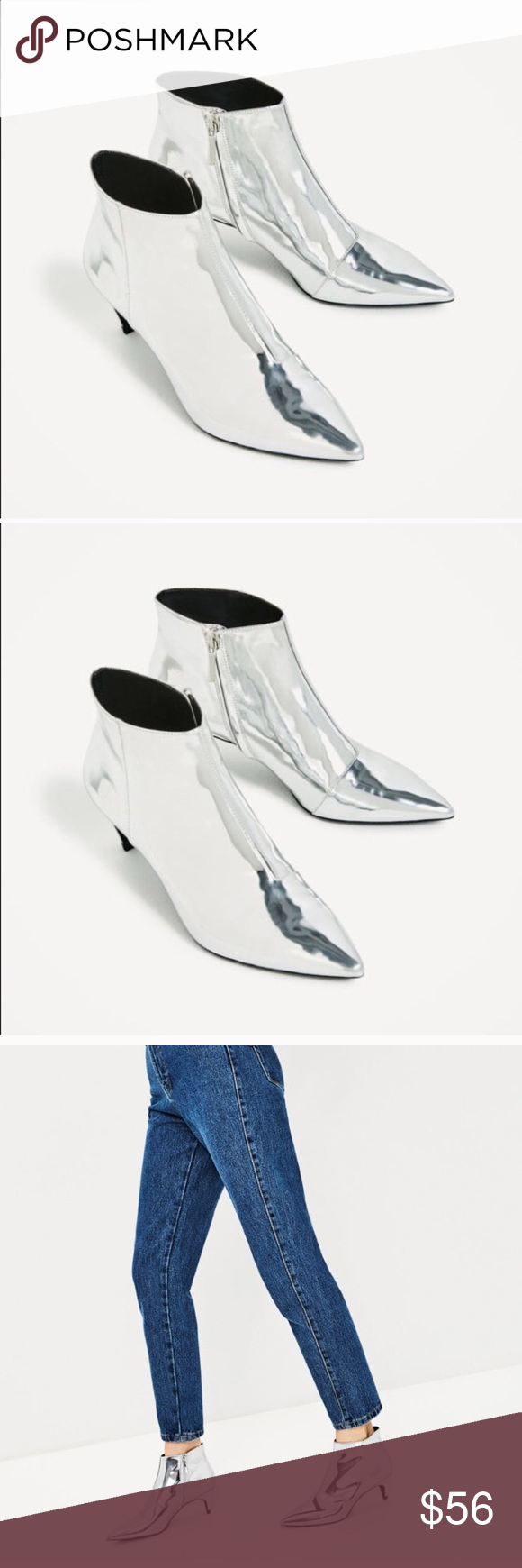 480ce5388d7 ❄️ZARA silver ankle boot -NWT NWT in 2018