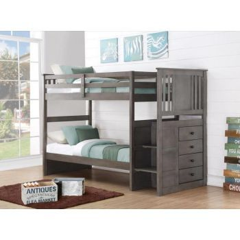 Twin Over Twin Princeton Stairway Bunkbed In Slate Gray