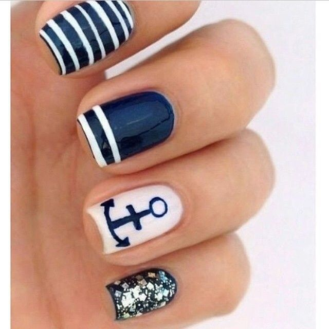 Nails - A little bit of white, blue and glitter make a flawless mani ...