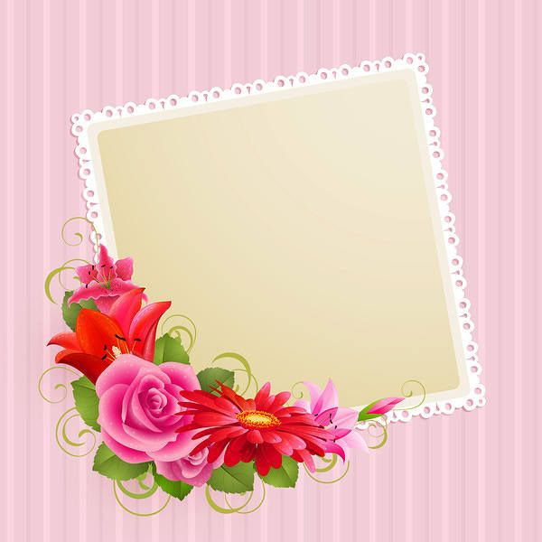 Pink Background With Flowers Vector Free Wedding Card