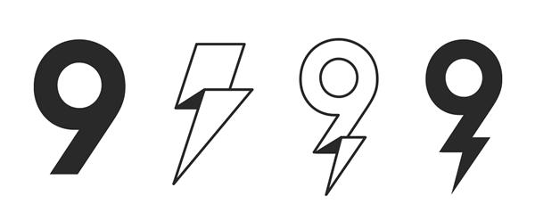 Brainstorm 9 Logo Process Numbers Typography Logo Design Inspiration Graphics Lightning Logo
