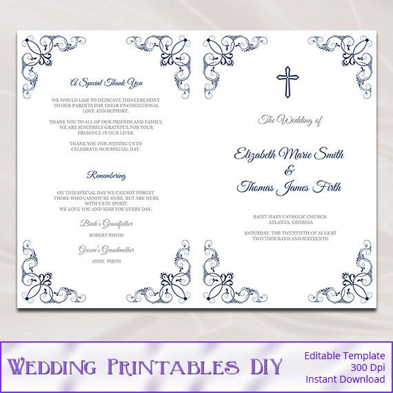 Catholic wedding program template diy navy blue order of for Catholic wedding mass booklet template