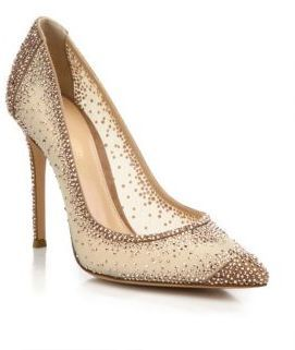 35811ece04 Gianvito Rossi Mesh & Crystal Point-Toe Pumps   Fashion   Pointed ...