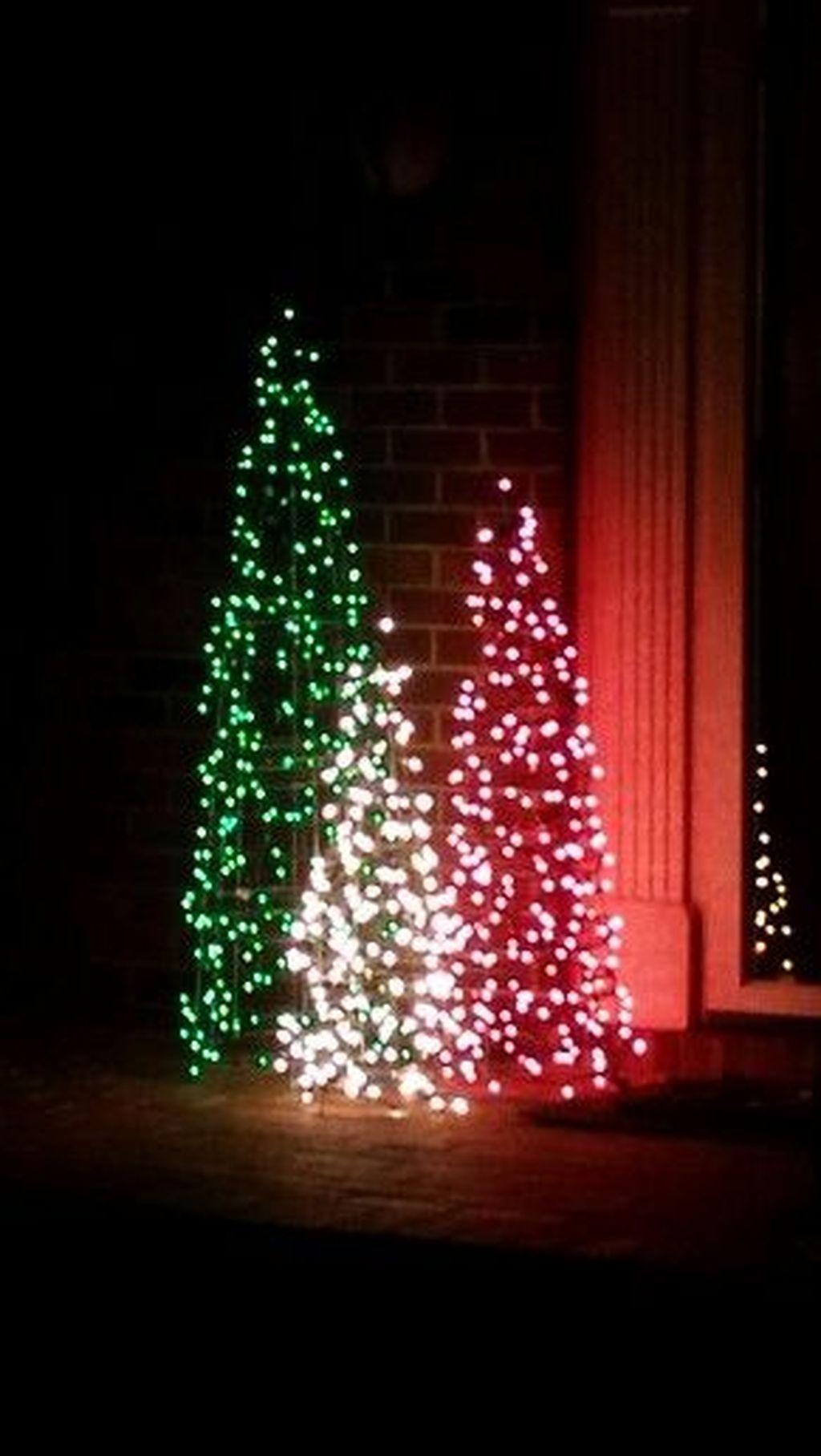 37 Creative Diy Outdoor Christmas Lighting Ideas Outdoor Christmas Tree Decorations Outdoor Christmas Tree Outdoor Christmas Lights