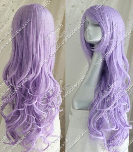 Cos light purple long curly cosplay full wig