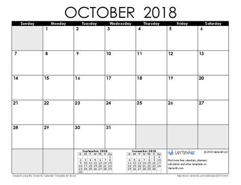 October 2018 Calendar A Pinterest Yearly, Template and Free - assessment calendar templates