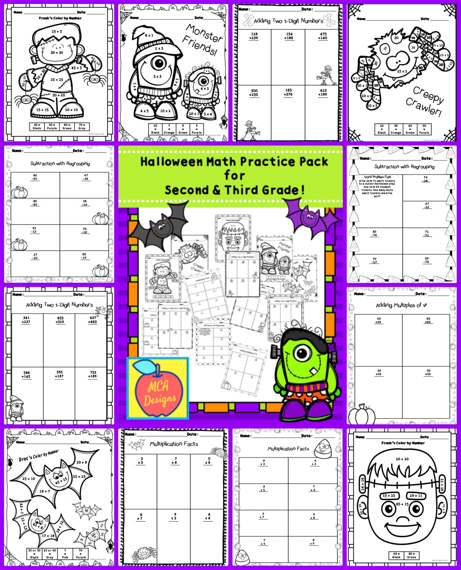 Color By Number Math Worksheet Fifth Grade