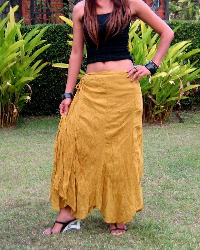 422380f34df Long Wrap Skirt   Handmade   100% Cotton   Free Shipping   SW-Long-Gold