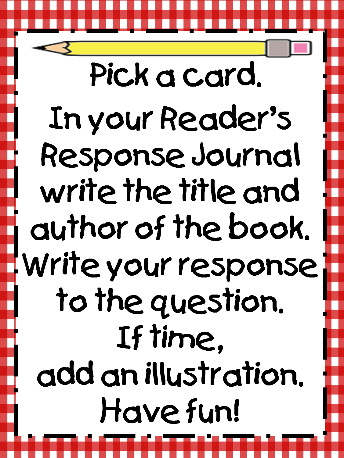 free printable reader\'s response cards! :) | 1st grade here we come ...