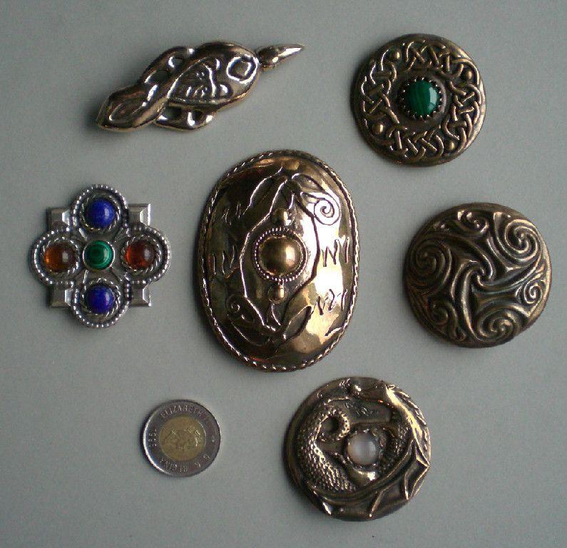 An assortment of Master Ark's original Medieval Brooches. www.MasterArk.com