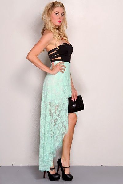 47764c4127f Mint Black Strapless Floral Lace High Low Hem Sexy Party Dress   Amiclubwear  sexy dresses
