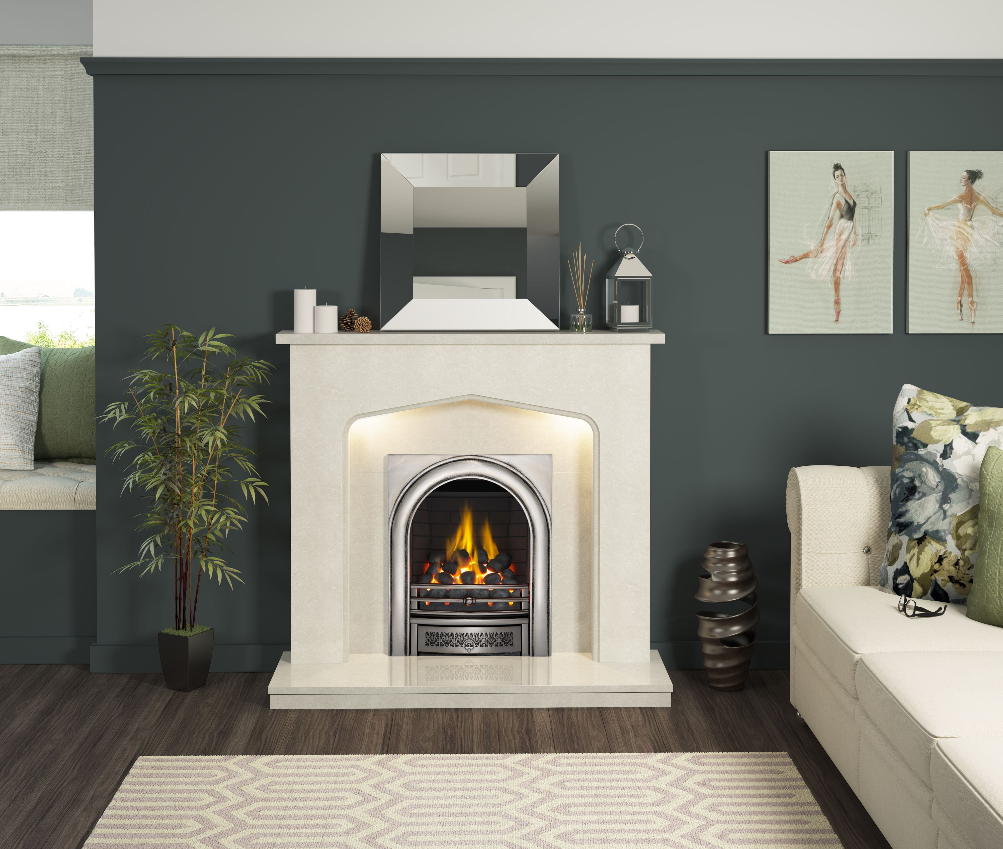 Pin By Chris On House Living Room Ideas In 2020 Fire Surround Home Living Room Diy Lighting