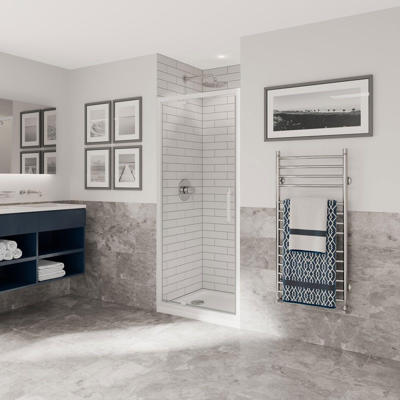 Coram Optima 6 Pivot Shower Door O6pi76cuw 760mm White Clear Shower Doors Shower Enclosure Pivot Doors