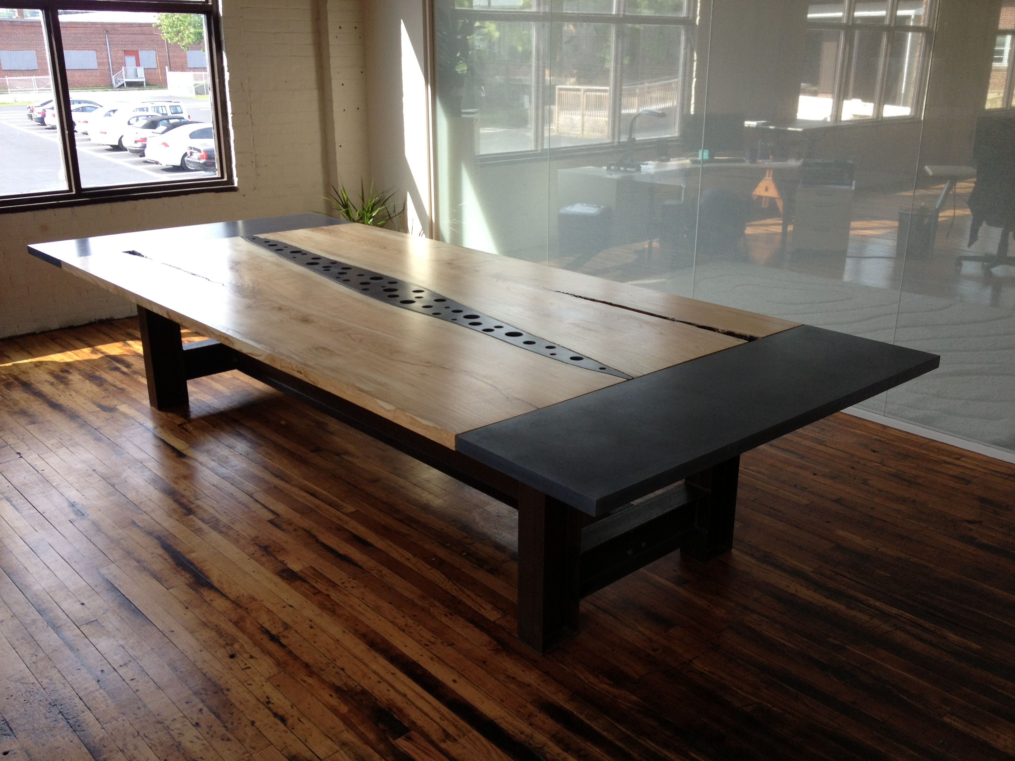 Concrete Wood Slabs Steel Conference Table Seth Cluley - Wood slab conference table