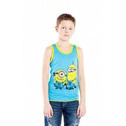 Майка для мальчика с миньонами голубая