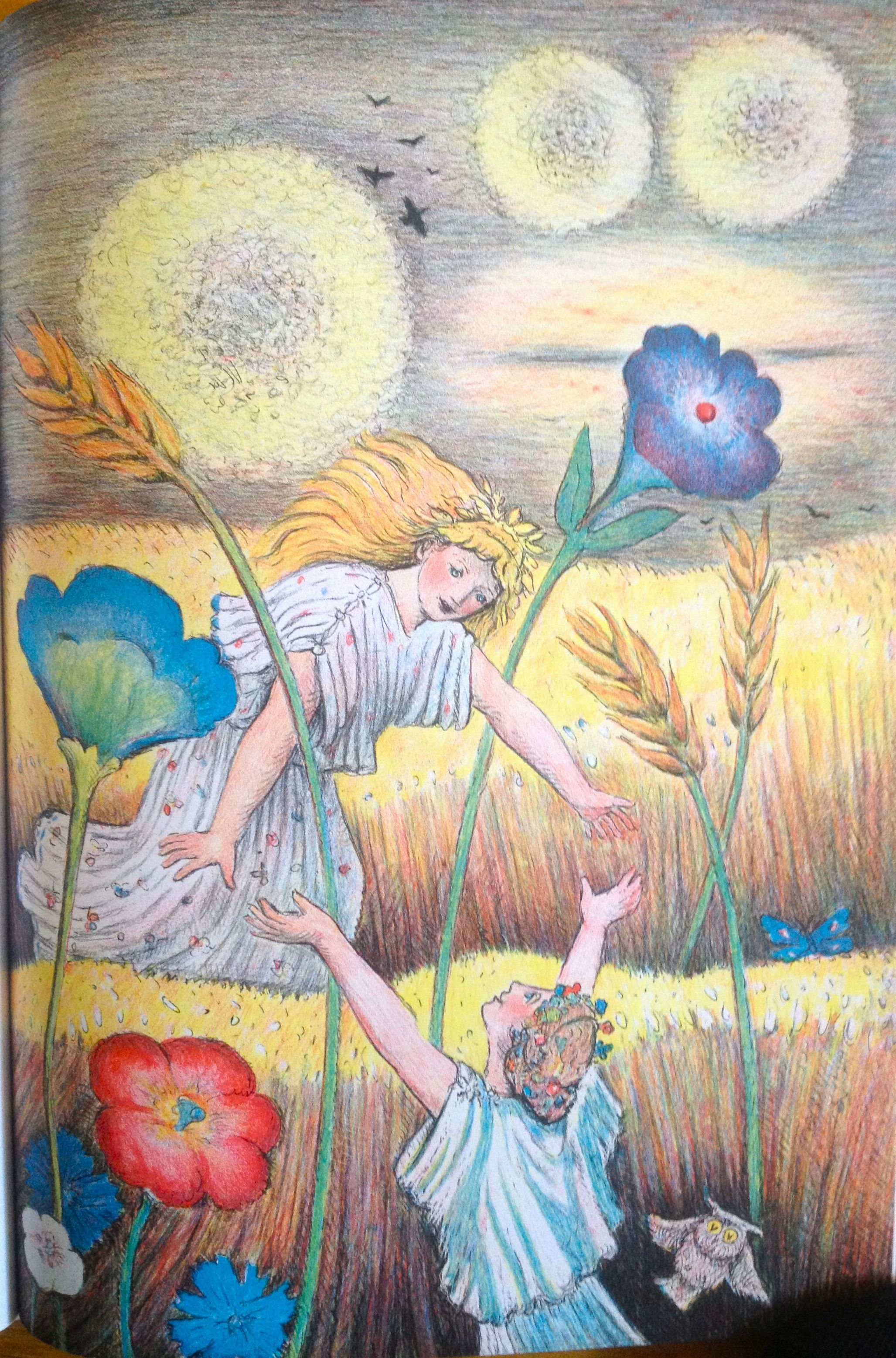 Demeter is reunited with Persephone -- from D'Aulaires ...