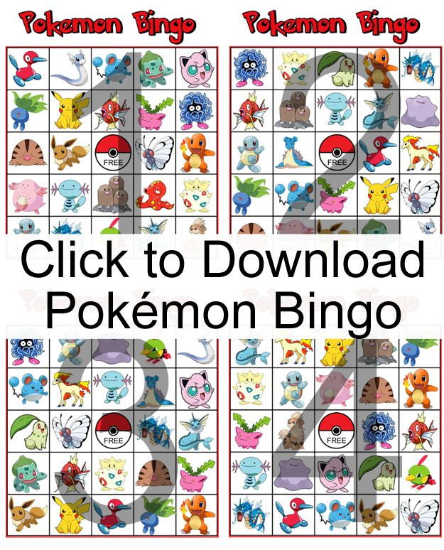 Do Your Kids Love Pokemon Download And Print This Free Bingo Game For Them To Play Its Perfect A Birthday Party