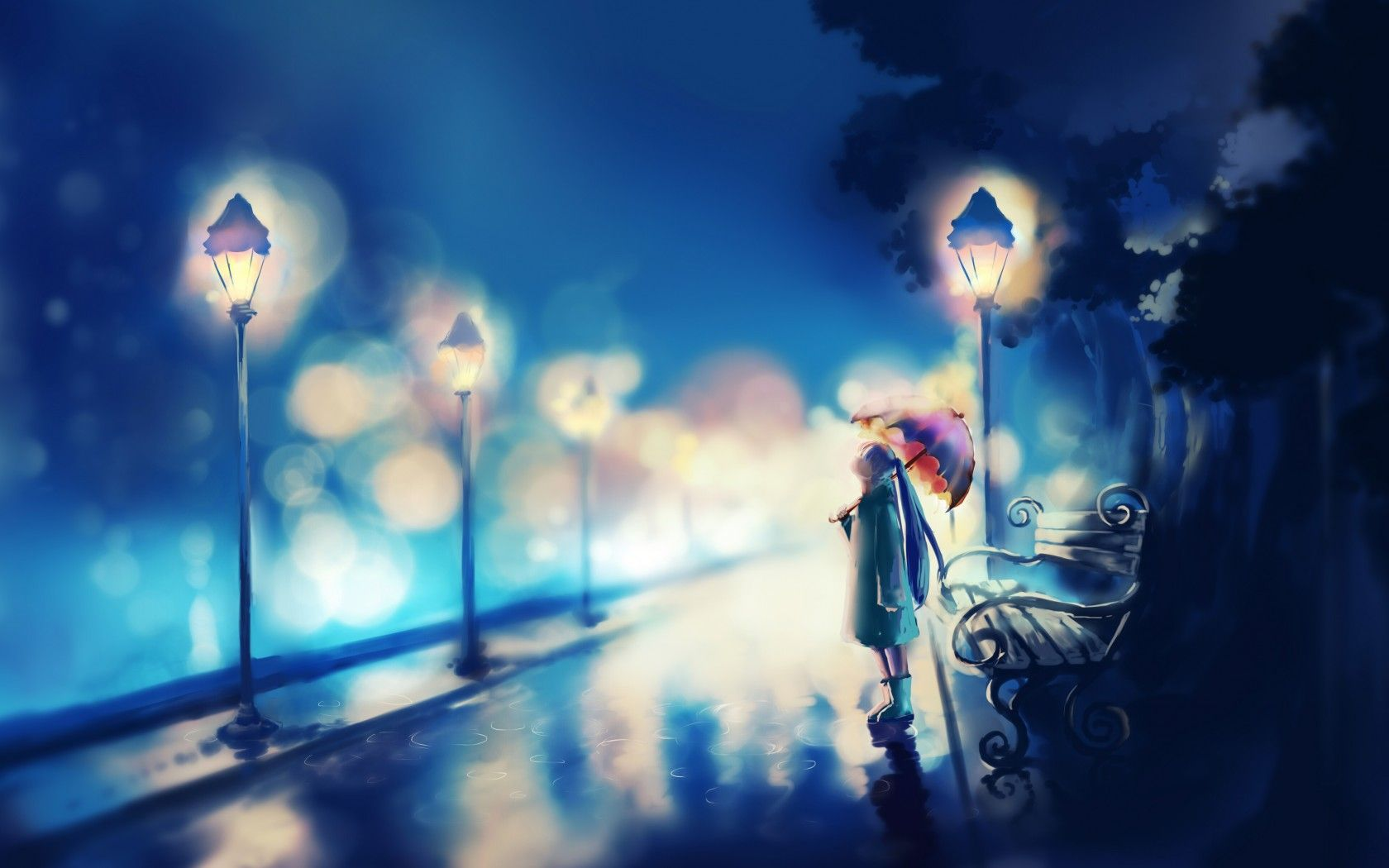 Night Lights Alone Girl Painting Wallpaper Download Hd Anime Wallpaper Anime Scenery Blue Anime