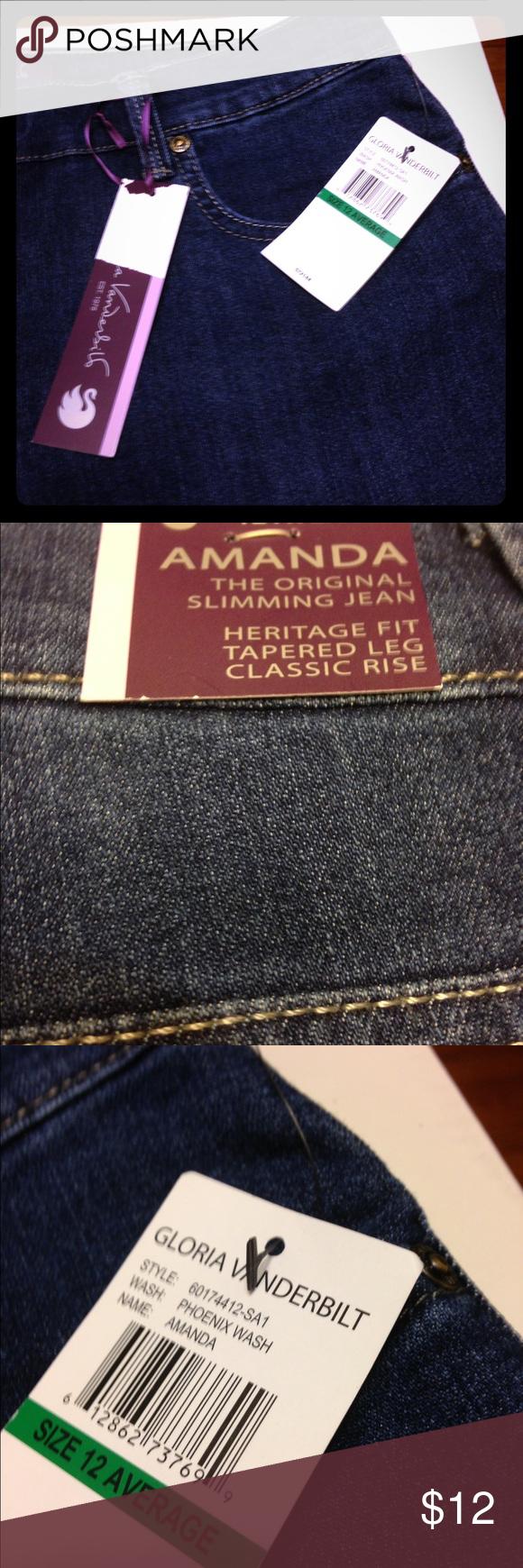 Gloria Vanderbilt Jeans, tapered legs Gloria Vanderbilt blue slimming jeans Gloria Vanderbilt Jeans Skinny