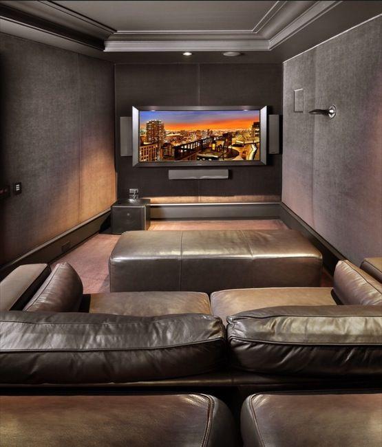 Cozy Home Theater: Small Cozy Media Room Tucked Into Interior Space Media