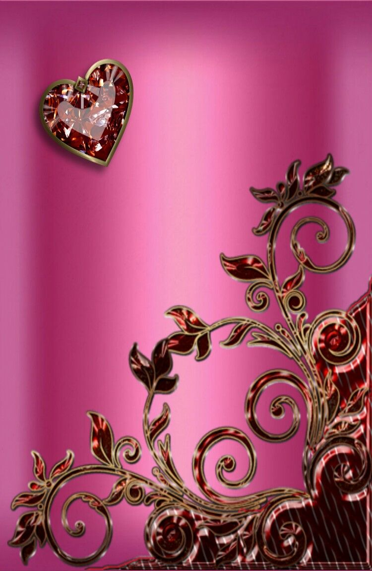 Pink & Gold Wallpaper...By Artist Unknown... | Heart ...
