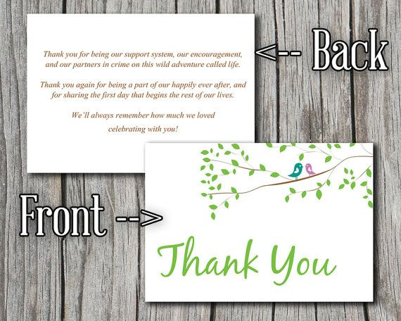 Love Bird Wedding Thank You Card Template - Thank You Greeting - microsoft thank you card template