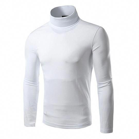 Men/'s High Collar Turtle Neck Skivvy Long Sleeve Sweater Leisure Stretch T-Shirt
