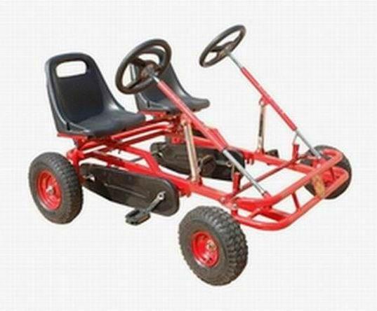 Kids Black Quad Pedal Go Kart 4 Wheel Powered Outdoor Sports Racing Toys Hobbies