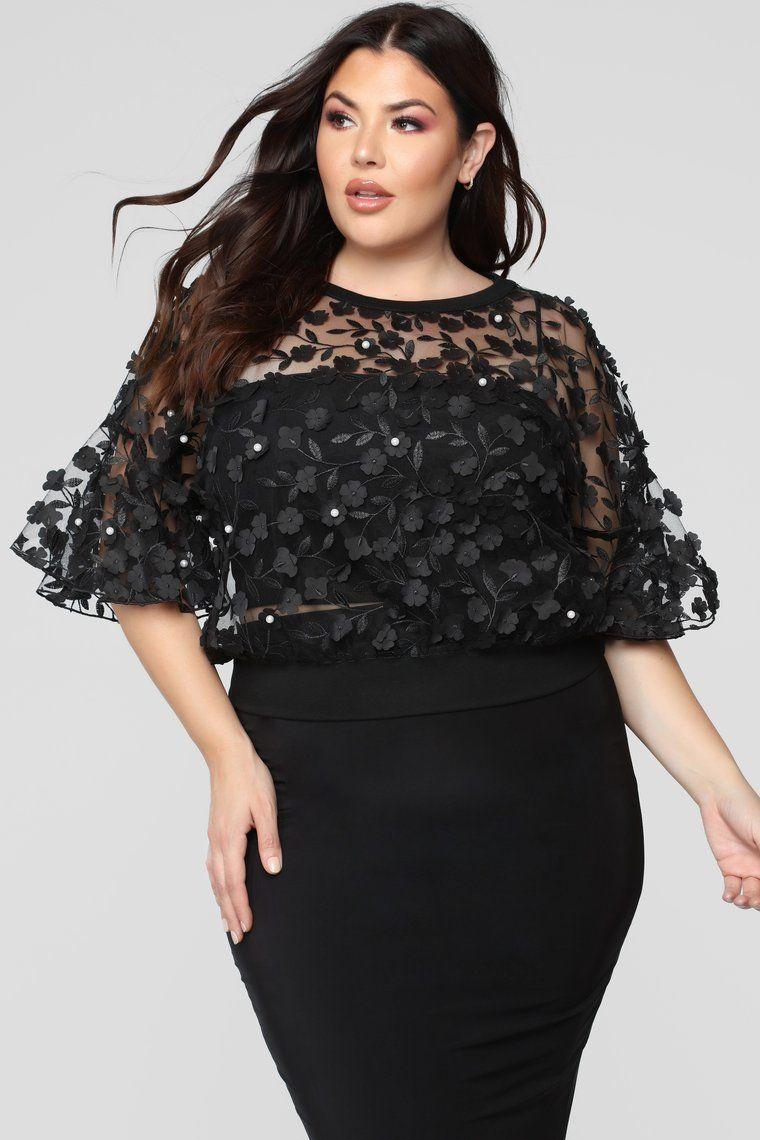 1f9acab2fa11 Love And Lace Chiffon Top - Black Black Lace Tops, Black Laces, Chiffon Tops