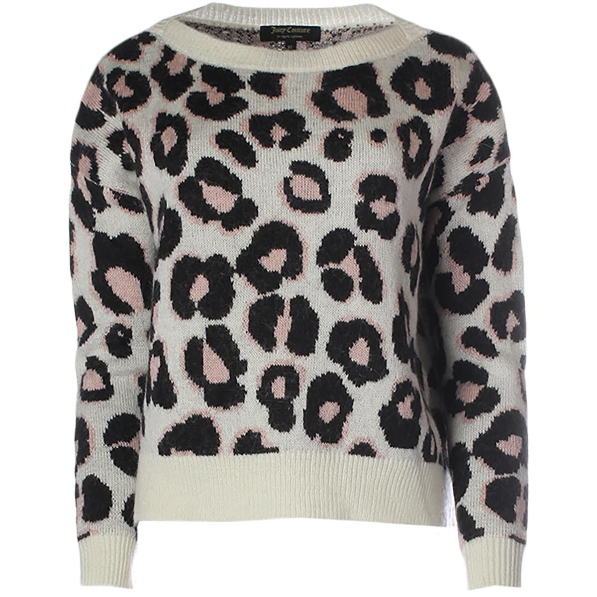 Juicy Couture Black Label Womens Villa Capri Leopard Mohair Pullover Sweater