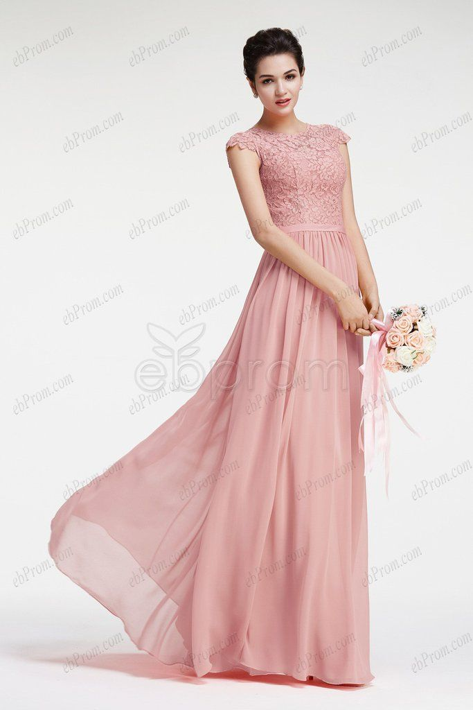 Dusty pink bridesmaid dresses with cap sleeves