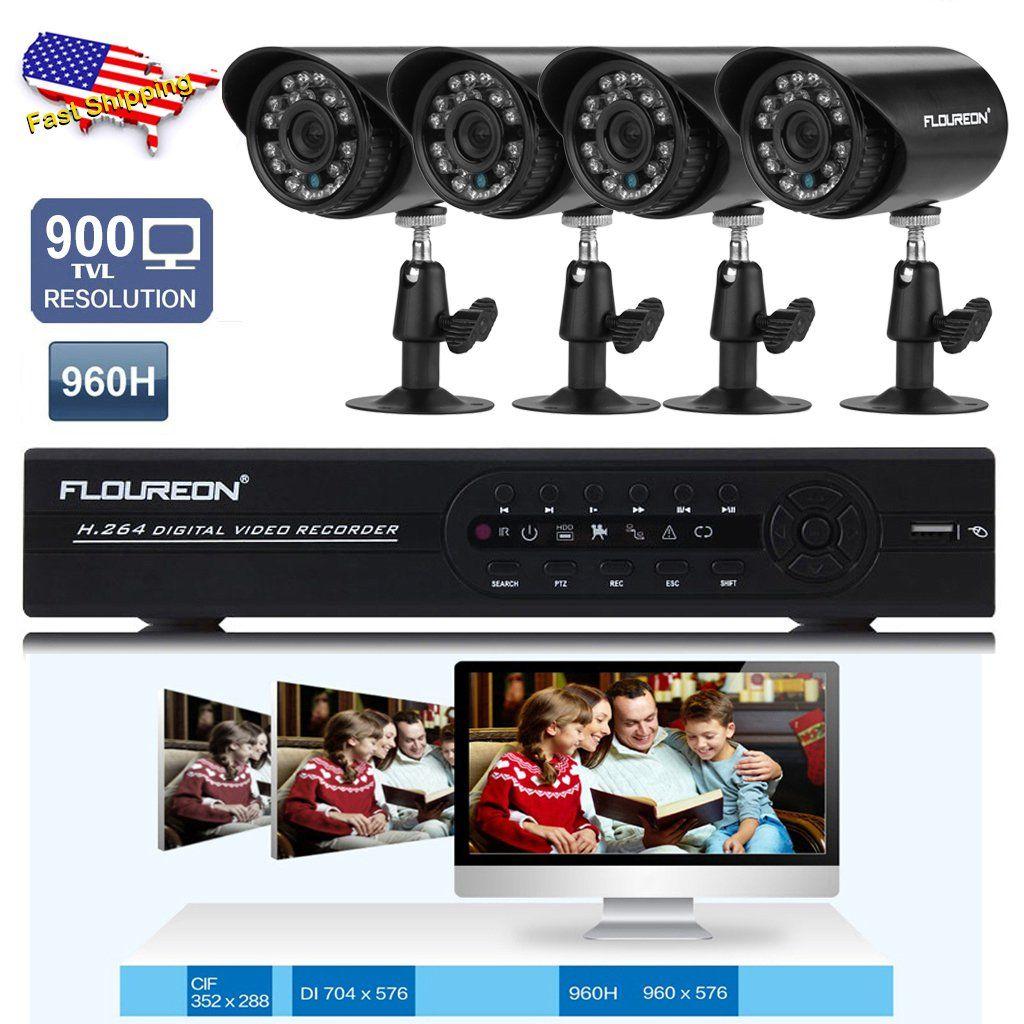 Floureon 4ch Dvr Security Cctv System Set 960h 4 X 900tvl Bullet Indoor Outdoor Camera Waterpr Security Camera System Home Surveillance Video Security System